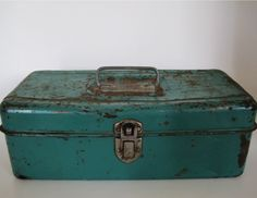 Vintage Tackle Box Hiawatha Teal Industrial Home Decor 1950's