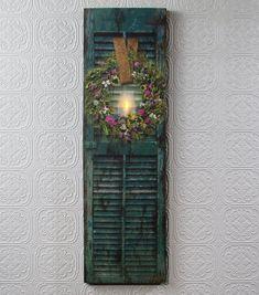 Lighted Herb Wreath On Shutter