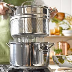 Williams-Sonoma Stainless-Steel Rapid Boil Pot #williamssonoma - If you are always waiting for your water to boil to add your pasta, WAIT NO MORE!! If you have a gas stove, this is your pot. A rapid boil comes quickly with this pot.