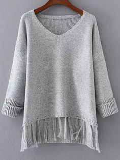 Shop Grey V Neck Rolled Cuff Fringe Hem Sweater online. SheIn offers Grey V Neck Rolled Cuff Fringe Hem Sweater & more to fit your fashionable needs. Sewing Clothes, Crochet Clothes, Winter Sweaters, Sweaters For Women, Clothing Haul, Fringe Sweater, Stitch Fix Outfits, Latest Street Fashion, Mode Hijab