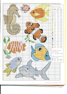 Schema punto croce Animali-marini x-stitch marine animals nemo