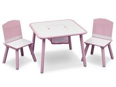 Delta Children TT89513GN Tafel met 2 Stoelen + Opbergruimte Roze/Wit