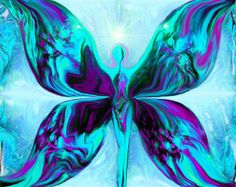 Blue Violet Wall Decor Reiki Angel Art Healing by primalpainter
