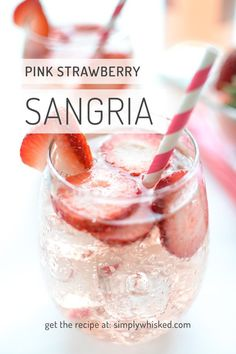 This sweet, pink strawberry sangria is so easy to make, and it's a party favorite. It's perfect for bridal and baby showers or a backyard bbq. Pink Sangria, Moscato Sangria, Strawberry Sangria, Pink Moscato, Pink Cocktails, Pink Drinks, Cocktail Drinks, Summer Cocktails, Pink Alcoholic Drinks