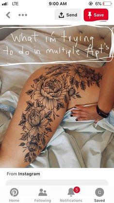 Flower Hip Tattoos, Hip Thigh Tattoos, Floral Thigh Tattoos, Leg Tattoos Women, Dope Tattoos, Back Thigh Tattoo, Side Body Tattoos, Tatoos, Mädchen Tattoo