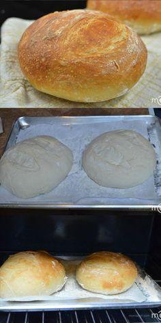 Easy bread recipe, it will require only a few minutes of your time. Easy bread recipe, it will require only a few minutes of your time. Knead Bread Recipe, No Knead Bread, No Yeast Bread, Bread Baking, Gluten Free Bread Bowl Recipe, Bread Mix, Easy Bread Recipes, Cooking Recipes, Easy Fast Bread Recipe