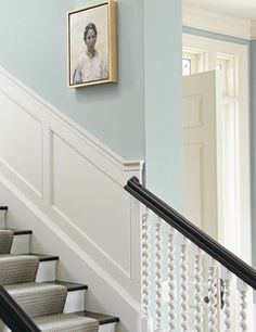 Wainscoting and Blue Walls Farrow & Ball Light Blue 22 Farrow Ball, Farrow And Ball Paint, Wall Colors, House Colors, Paint Colors, Floor Colors, Stairway Walls, Stairway Wainscoting, Stairway Lighting