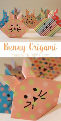 A great way to decorate for Easter or fun as name plates. These bunny origami will bring smiles regardless. Spring Crafts, Holiday Crafts, Fun Crafts, Diy And Crafts, Paper Crafts, Easter Art, Hoppy Easter, Easter Crafts For Kids, Easter Bunny