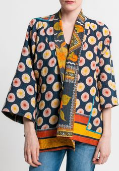 Mieko Mintz Vintage Cotton Reversible Kantha Kimono Jacket in Navy/Orange Mode Kimono, Kimono Jacket, Kimono Style, Vintage Cotton, Embroidery Fashion, Embroidery Dress, Boho Outfits, Fashion Outfits, Diy Clothing