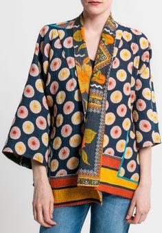 Mieko Mintz 4-Layer Vintage Cotton Reversible Kantha Kimono Jacket in Navy/Orange | Santa Fe Dry Goods & Workshop #miekomintz #vintage #upcycled #cotton #reversible #kantah #kimono #jacket #santafe #santafedrygoods