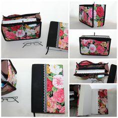 Organizador de mala e capa de livro Ref. Floral Preto/Floral