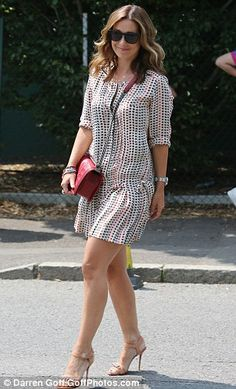 Day out: Louise Redknapp wore a pretty print dress as she attended with husband Jamie Simple Outfits, Simple Dresses, Day Dresses, Casual Dresses, Casual Outfits, Fashion Dresses, Louise Redknapp, Check Dress, Cute Fashion