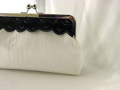 Madison - off white dupioni silk clutch with black velvet lace 9bb1bd20c9020