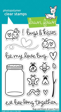 "Lawn Fawn """"Bugs & Kisses"""" Clear Stamp Set"