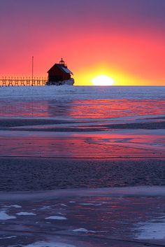 ~~Reflecting on Grand Haven ~ Grand Have Pier Lighthouse, Michigan by Second Glance Photos Kevin Ryan~~