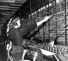 Two women operate a switchboard during the Chesapeake & Potomac Telephone strike, 1947.