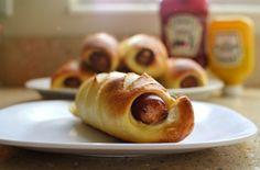 pretzel wrapped bratwurst. memories of europe.