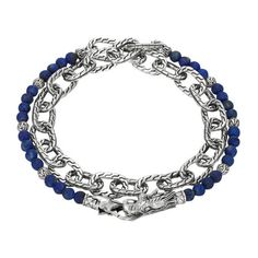 John Hardy Batu Naga Double Wrap Lapis Lazuli Silver Link Bracelet ($395) ❤ liked on Polyvore featuring jewelry, bracelets, dragons, bracelets bangle, bangle bracelet, hinged bracelet, john hardy jewelry and hinged bangle
