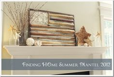 Summer-Mantel-Decorating - I can make this, if not with bats then with sticks