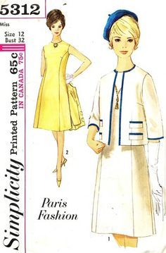 Simplicity Pattern 5312 Vintage 60's Paris Fashion Dress and Channel Influenced Jacket! Uncut Size 12 Bust 32