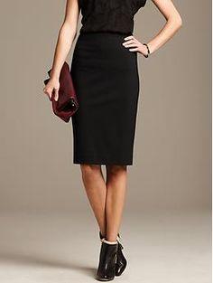 Black Ponte Pencil Skirt