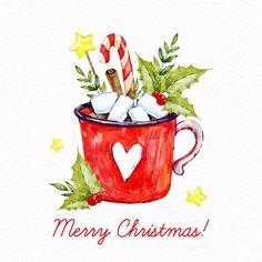 Christmas Images, Christmas Art, Christmas Greetings, Vintage Christmas, Watercolor Christmas Cards, Christmas Drawing, Christmas Paintings, Free Christmas Backgrounds, Merry Christmas Wallpaper