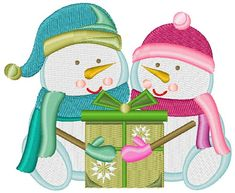 Snowman and Snowwoman Opening Present machine embroidery design from embroiderydesigns.com All Design, Free Design, Magazine Design, Machine Embroidery Designs, Snowman, Applique, Presents, Quilts, Art Prints