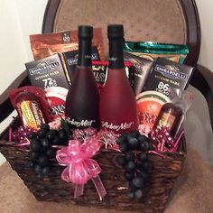 Wine, Cheese And Chocolate Gift Basket