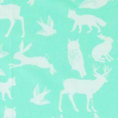 Cotton dark mint w light blue animal - Stoff & Stil