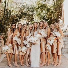 Are you a minimalist bride looking for a no-fuss, classy wedding style that is elegant and chic? Then a classic slip dress is for you! Slip dresses are a Slip Bridesmaids Dresses, Wedding Dresses, Wedding Dress Gallery, Mauve Dress, Bride Look, Golden Girls, Wedding Inspiration, Bridal