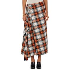 Cedric Charlier Women's Plaid Flannel Wrap-Style Midi-Skirt ($980) ❤ liked on Polyvore featuring skirts, white, plaid skirt, plaid wrap skirt, calf length skirts, white plaid skirt and tartan plaid skirt