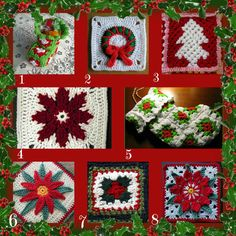 Free crochet Christmas granny square patterns