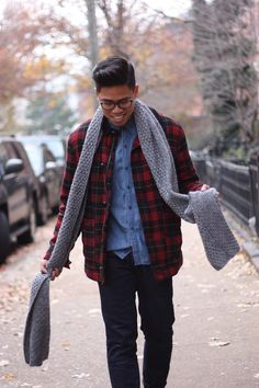 "Anthony of ""Closet Freaks"" staying warm in our plaid jacket. #urbanoutfitters"