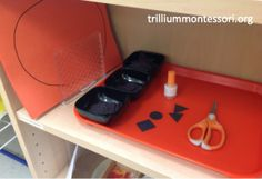 Making a jack-o-lantern with basic shapes- fine motor