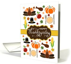 #Thanksgiving Icons greeting card - Turkey, Pilgrim hat, pumpkin, apple, drumstick, ear of corn ... all the makings of a modern Thanksgiving feast!