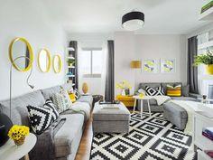 New apartment design living room grey Ideas Home Living Room, Room Design, Ikea Living Room, Wall Decor Living Room, Interior Design Rugs, Living Room Mirrors, Living Room Grey, Yellow Living Room, Summer Living Room