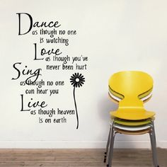 7a95275934c Dance Love Sing Live Quote Vinyl Decor Removable Wall Stickers Art Home  Decals Free shipping Dropshipping  2.90