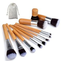 Professionele 11-Delige Make Up Kwasten Set - Met Foundation Kwast / Concealer Brush / Kabuki Borstel / Blush Brush / Wenkbrauw & Eyeliner / Oogschaduw Kwasten & Cosmetica / Visagie Kit