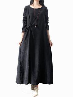 O-Newe Women Solid Swirl Double Layer Casual Dress