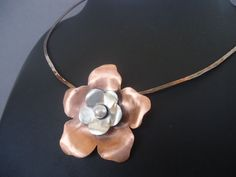 Mixed Metal Flower Pendant Copper and Silver by AegeanDreams, €35.00