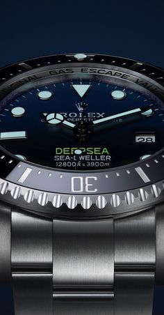 Rolex Watches New Collection : Illustration Description The new Rolex Deepsea is equipped for the first time with calibre at the forefront of watchmaking technology. Rolex Watches For Men, Fine Watches, Luxury Watches For Men, Cool Watches, Women's Watches, Wrist Watches, Bape, New Rolex, Swiss Army Watches