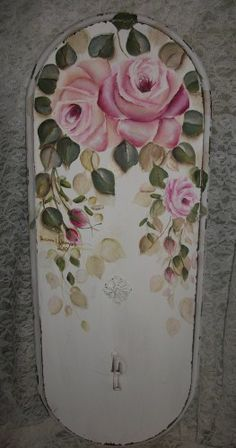 shabby chic cottage HP roses vintage wall decor hat rack
