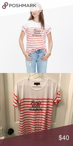 """❤️ Madewell et Sézane """"paris mon amour"""" tee ❤️ """"Paris My Love"""" striped t-shirt purchased from Madewell. Madewell Tops Tees - Short Sleeve"""