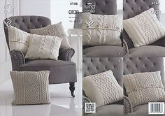 Cable Knit Cushion Covers Cotton Aran Knitting Pattern King Cole Home Decor 4146 in Crafts, Crocheting & Knitting, Patterns | eBay