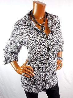 CHICO'S Sz 2 Top M L NEW Long NO IRON Animal Print Shirt Cotton Button Down  #Chicos #Blouse #Casual