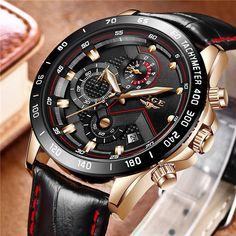 ef4c64e1947 LIGE Homens Relógio de Moda Relógio de Quartzo Militar Do Exército Mens  Relógios Top Marca de Luxo Relógio Do Esporte de Couro À Prova D  Água  Relogio ...