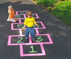 Hop on giant numbers for some learning fun with Crayola Sidewalk Paint.
