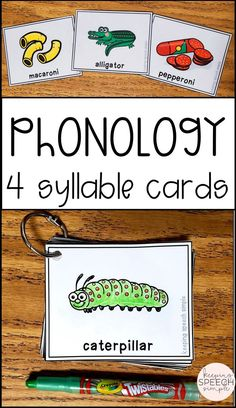 These 4 syllable phonology cards are a good supplement to your existing phonology resources. This product contains 24 cards, each with 4 syllables. Both color and black lined versions are included.  Students or clients can color the black lined version and take home for speech homework. These cards are appropriate to use with your kindergarten and elementary school students. These cards are a must have as one of your speech therapy resources. #phonology #speechtherapy