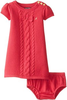 Nautica Baby Girls' Cable Bow Sweater Dress, Med Navy, 12 Months: Sweater dress with coordinating bloomers Girls Sweater Dress, Knit Baby Dress, Sweater Set, Knit Sweater Dress, Girls Sweaters, Baby Sweaters, Cable Knit Sweaters, Knitting For Kids, Baby Knitting Patterns