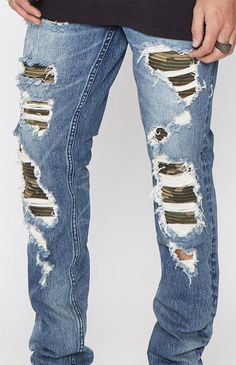 Skinny Comfort Stretch Stitch & Repair Camo Medium Jeans Camo Print, Fashion Pants, Skinny Jeans, Stitch, Denim, Clothes, Collection, Style, Kleding